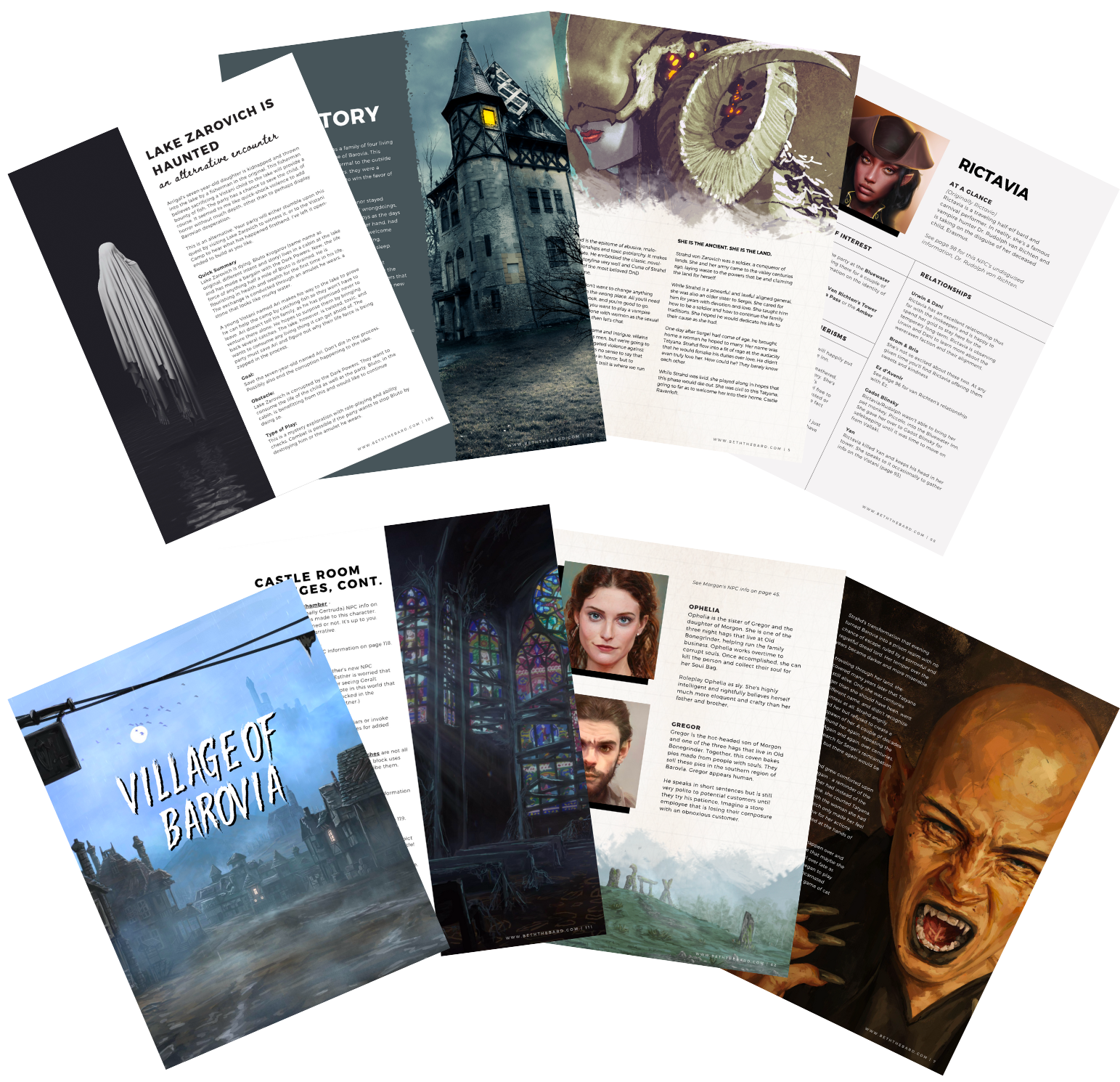 Page previews for She is the Ancient including faction information, NPC map, NPC description pages, handouts, encounter changes, and location changes.